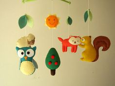 """Baby crib mobile, forest mobile, animal mobile , felt mobile """"Forest friends 2"""" - Fox, Squirrel, Owl, Lamb, Tree, Sun"""