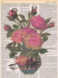 Flower Bouquet, Red Rose.Repurposed Antique Book Page