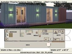 32 Ideas 40 foot container house design for 40 Foot Shipping Container Home Full Construction House House Plans For Sale, Simple House Plans, Tiny House Plans, House Floor Plans, Shipping Container Home Designs, Container House Design, Shipping Containers, Shipping Container Cabin, Plan Duplex