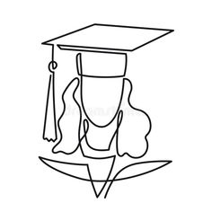 Continuous Line Drawing Of Graduation Student Vector One Line Art Icon Isolated On White Background. Graduate Woman Stock Vector - Illustration of graduation, lineart: 125872753 Minimal Drawings, Easy Drawings, Graduation Drawing, Broderie Simple, Outline Art, Minimalist Drawing, Continuous Line Drawing, Hippie Art, Art Icon
