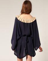 Black Vintage Loose Chiffon Collar Sheer Dress - Sheinside.com