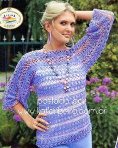 Катя Рибейро Мода и ручной украшения: Зажим в вязания крючком блузка с графическим