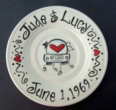 hand-painted wedding plate