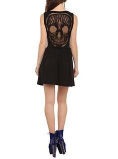 Black Lace Skull Applique Dress, BLACK, hi-res