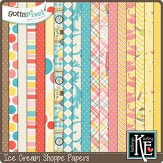 Ice Cream Shoppe Papers :: Gotta Pixel Digital Scrapbook Store by Kathryn Estry