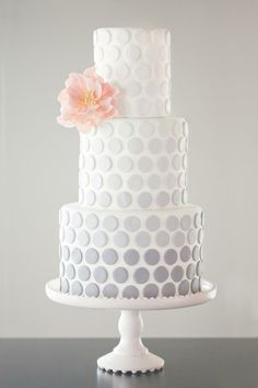 Gray ombre cake - Check out navarragardens.com for info on a beautiful Oregon wedding destination!