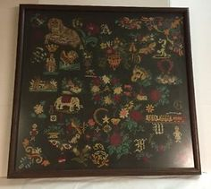 Completed-Cross-Stitch-Multi-Subject-Art-Piece-Sampler-Framed-24-x-25