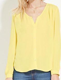 Forever 21 Collarless Chiffon Shirt as seen on Jessie James Decker
