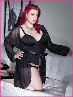 Mesh Robe With Full Length Sleeves - Black - Plus Size - 3709X