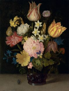 Ambrosius Bosschaert I (Antwerp 1573-1621 The Hague), Parrot tulips, a rose, a fritillary, daffodils, narcissi and other flowers in a roemer, with a Meadow Brown butterfly and a fly, on a stone table, oil on oak panel, 10 x 7 5/8 in. (25.3 x 19.4 cm.)