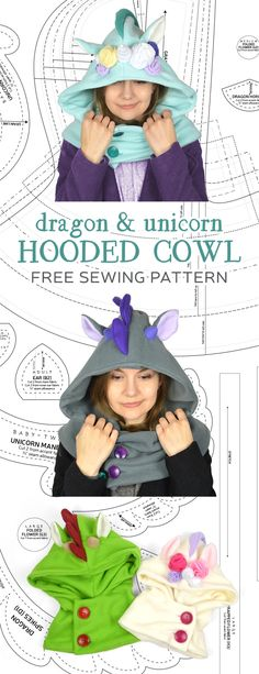 Hooded Cowl Sewing Pattern by SewDesuNe on DeviantArt de costura para principiantes Sewing Projects For Beginners, Knitting For Beginners, Fun Projects, Cute Sewing Projects, Sewing Patterns Free, Free Sewing, Free Pattern, Cowl Patterns, Clothes Patterns
