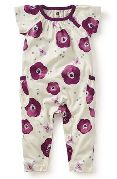 Tea Collection 'Bougainvillea' Floral Print Romper (Baby Girls)