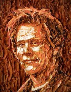 Check out the Kevin Bacon mosaic portrait made out of bacon.