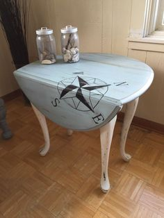 We Chicd It! Breathing new life into your everyday furniture!  Service Ad: Drop leaf table - Painted & Repurposed  Like this style?!!! Let us replicate it on your own accent table. All you have to do is ship/drop off your piece at our warehouse or have us pick it up. Well do all the work! We have refinished this table from the original natural wood color to a white & blue shabby chic style. We cleaned, sanded, repurposed, painted, & waxed it to get this new look. Shipping quote is a place…