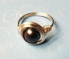 Black Pearl Ring  Peacock Black Freshwater by SpiralsandSpice, $18.00