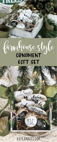 A lovely gift set of farmhouse style ornaments!