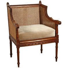 French Cushioned Cane Chair