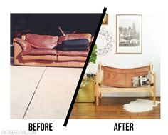Ugly Sofa Upcycled Into Leather Safari Sling Bench - Vintage Revivals