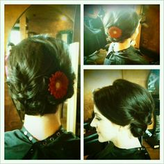 Short bob updo. Curled loosely & pinned back. Tucked under at nape. Love!