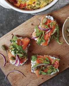 Seeded-Bread Tartines with Herbed Goat Cheese and Smoked Salmon, Wholeliving.com #glutenfree #breakfast