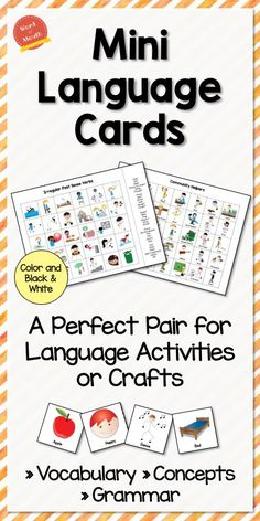 Mini Language Cards for Vocabulary, Concepts, & Grammar! Perfect for crafts and therapy activities. Color & BW.