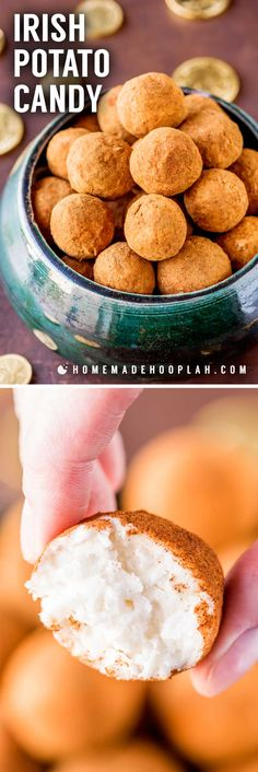 Irish Potato Candy! This no-bake recipe for Irish potato candy is flavored with coconut, cream cheese, sugar, butter, and a dash of cinnamon. They're easy to make and perfect for celebrating St. Patrick's Day! | HomemadeHooplah.com