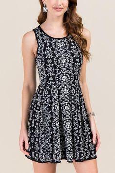 Elizabeth Sweater Floral A-Line Dress