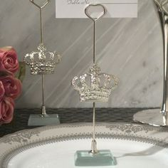 Silver Royal Crown place card holder-A Royal way to greet and seat your guests at your elegant event. Each silver place card holder has an ornate silver Royal Crown design charm attached to a metal stick holder seated on a crystal glass base. Elegant Wedding Favors, Candle Wedding Favors, Beach Wedding Favors, Personalized Wedding Favors, Unique Wedding Favors, Wedding Ideas, Wedding Stuff, Trendy Wedding, Wedding Table