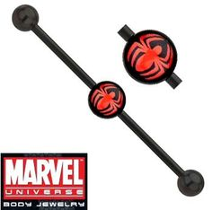 Amazon.com: Spiderman Spider man Widow Black Anodized Titanium over Surgical Steel Official Licensed Marvel Comics Industrial Barbell Earring 1 1/2, 38mm: Jewelry