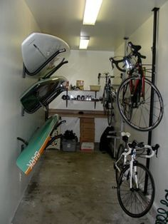 organized garage... #bike rack #SUP #surfboard rack