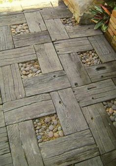 Garden path-recycled timber and pebbles. Instead of pebbles maybe plant dwarf mondo grass.
