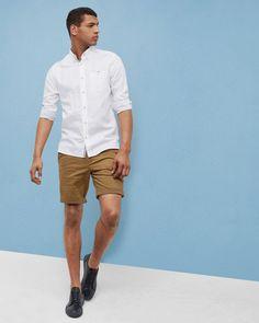 dcc4f563b50d7 Ted Baker Linen and cotton-blend shirt White Mens Designer Shirts