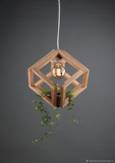 Смарт светильник из дерева Кубиринт. Smart wooden suspended lighting. LightsWood.