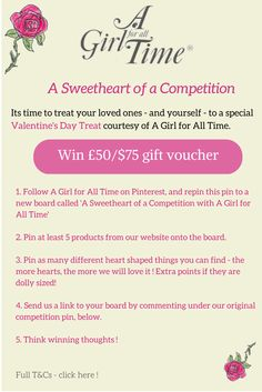 Enter to #win our Sweetheart of a #Competition! Rules and terms in the pin, T&Cs apply.  Visit us at www.AGirlForAllTime.com