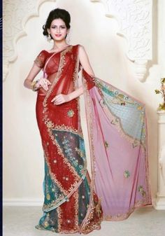 Carnelian Red Net Wedding Lehenga Saree