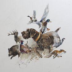 Art Print Pudelpointer by Valery Siurha Dog gift Hunting Art, Hunting Gifts, Hunting Dogs, Deer Hunting, Hunting Tattoos, Gifts For Hunters, Deer Art, Art Original, Animal Heads