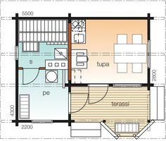 Käpylä B    Kerrosala 20 m²  Kokonaiskäyttöala 26 m²       Kontiolla pienikin on kaunista. Saunatuvassa on kokoonsa nähden erittäin toimivat ja käytännölliset tilat. Avaruuden tuntua lisäävät valoisa ikkunaerkkeri ja tilava terassi.