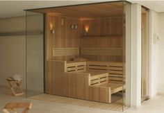 This contemporary sauna can be fitted with a unique oxygen-therapy feature. Sauna Steam Room, Steam Bath, Sauna Room, Sauna Design, Bath Design, Jacuzzi, Finnish Sauna, Spa Rooms, Architecture