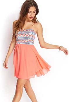 Tribal Print Strapless Dress | FOREVER21 - 2055880152