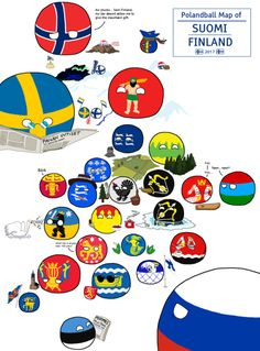 Polandball Map of Finland Poland Country, Brave New World, History Memes, Fun Comics, Funny Cartoons, Finland, Cool Stuff, Funny Stuff, Flag