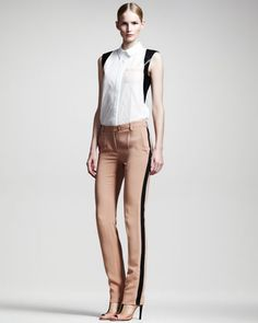 Reed Krakoff Leather-Trim Sleeveless Shirt & Slim Trousers - Neiman Marcus