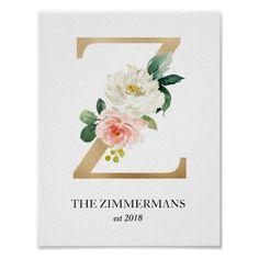 Monogram Art Print, Letter Z, Wedding, Nursery Poster