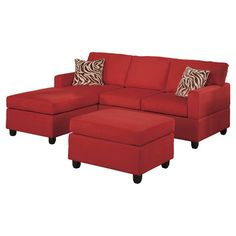 Red sectional sofa with a matching ottoman.          Product: Sectional sofa, chaise and ottoman      Construction Materia...
