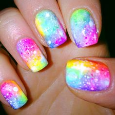 Neon Galaxy Nail #nailsdesign