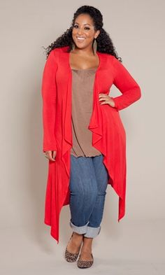 not a fan of red but I like this!!! love the brown, the cuffed jeans and the flats!