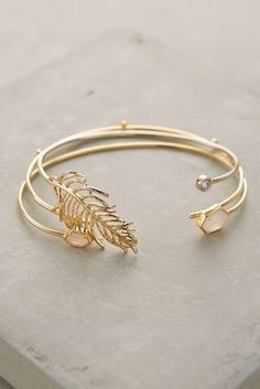 Anthropologie Gilded Leaf Bangles