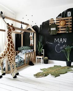 black and white jungle kids room with large giraffe plush and alligator rug #kidsroom #kidsdecor #jungleroom #junglenursery #nurseryideas #nurserydecor Boy Toddler Bedroom, Toddler Rooms, Baby Bedroom, Baby Boy Rooms, Baby Room Decor, Nursery Room, Boys Jungle Bedroom, Toddler Boy Room Ideas, Baby Boy Bedroom Ideas