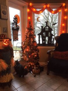 Cheap and Easy Indoor Halloween Decorating Ideas – Spooktacular Trees – Holiday Craft Ideas – Grandcrafter – DIY Christmas Ideas ♥ Homes Decoration Ideas Halloween Designs, Retro Halloween, Spooky Halloween, Halloween Room Decor, Halloween Living Room, Diy Halloween Decorations, Holidays Halloween, Halloween Crafts, Halloween 2019