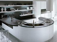 Glossy Furniture Design for Creating Luxury Performance: Stunning Modern Kitchen Island Design With Minimalist Curved Decoration Ideas With . Curved Kitchen Island, Contemporary Kitchen Island, Small Modern Kitchens, Modern Kitchen Interiors, Luxury Kitchen Design, Interior Design Kitchen, Cool Kitchens, Kitchen Islands, Kitchen Modern