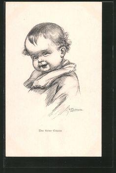 Künstler-AK Wally Fialkowska: Kind lächelt schelmisch Nr. 5772480 - oldthing: Künstlerkarten - signiert